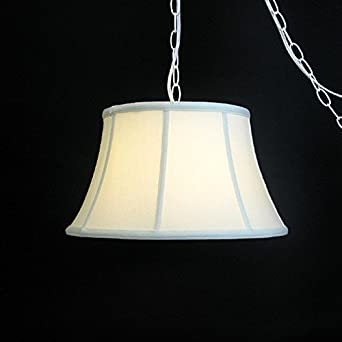 eggshell silk 17 hanging lamp swag portable plug in swag lamp. Black Bedroom Furniture Sets. Home Design Ideas
