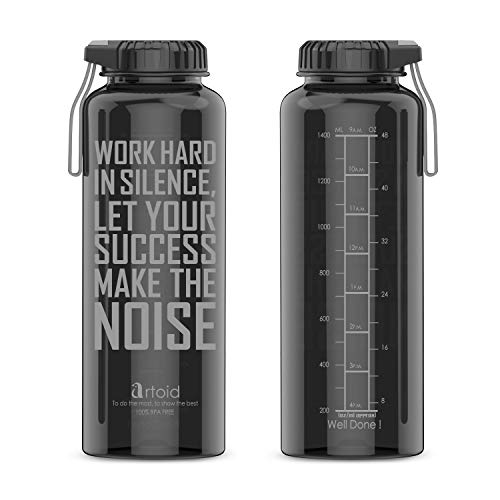 - Artoid 48oz Motivational Fitness Workout Sports Water Bottle with Time Marker and Measurements | Goal Marked Times for Hydration Tracking by Hour, BPA Free and Dishwasher Safe