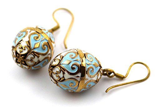 - Bronze Multicolor Enameled Faberge Egg , Easter Egg , Russian Eggs, Dangle Earrings Fish Hook Thailand Made Jewelry (Blue-White)