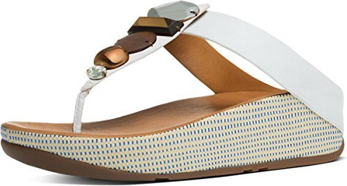 FitFlop Women's Jeweley Leather Toe-Thong Sandals Urban White 10 by FitFlop