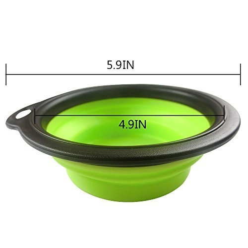 Arlie Pet Silicone Foldable Bowl - Retractable Travel Protable Water Bottle/Dish with a Metal Carabiner, Also Can Used as Flying Disc Toy for Dogs & Cats, Green