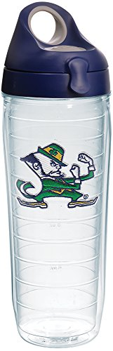 Dame Fighting Irish Leprechaun Tumbler with Emblem and Navy with Gray Lid 24oz Water Bottle, Clear ()