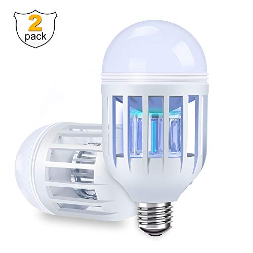 Bug Zapper Light Bulbs (2 Pack) Mosquito Killer Lamp, LED Electronic Insect & Fly Killer - Built in Fly Trap, Fits in 110V E26/E27 Light Bulb Socket for Indoor Outdoor Porch Patio Backyard etc