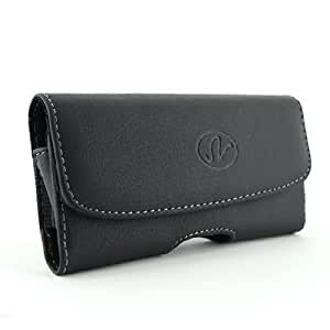 Black Horizontal Leather Look Holster Case Pouch with Belt Loop and Belt Clip for Alcatel One Touch Scribe Easy
