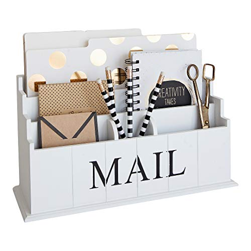 Blu Monaco Wooden Mail Organizer - 3 Tier White Desk Organizer - Rustic Country Mail Sorter - Kitchen Counter Organizer Mail ()