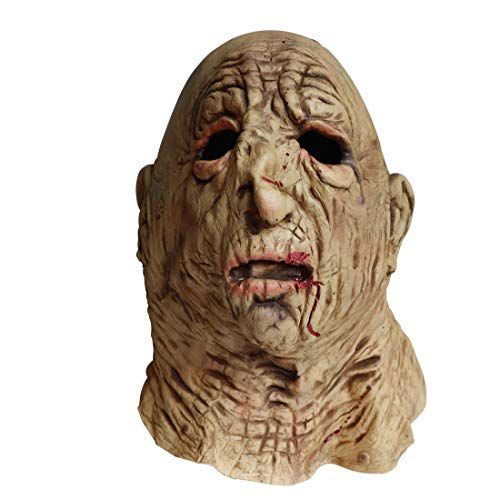 Waltz&F Halloween Horror Mask Disgusting Rotten Face Bloody Old Man Mask Creepy Scary Latex Mask -