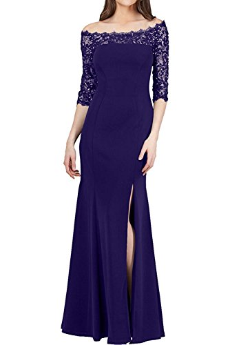 Damen Spitze Festlichkleider Braut Marie Dunkel Brautmutterkleider La Blau Regency mit Etuikleider Langarm Elegant UpwnCqnxz