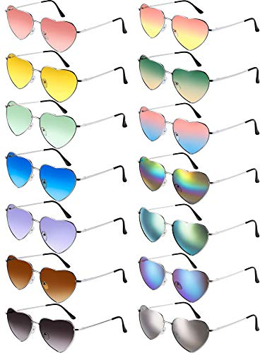 Chinco 14 Pieces Heart Sunglasses Metal Frame Lovely Heart Colored Lens Sunglasses (Silver Frame)