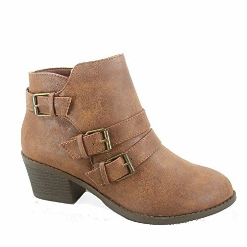 (Forever Link Eury-4 Women's Fashion Round Toe Buckles Zipper Low Heel Ankle Booties Shoes,Tan,8.5)