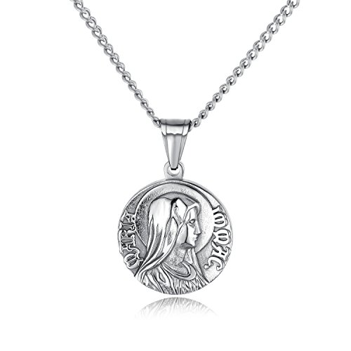 Mary Religious Medallion - INSEA Virgin Mary Medal Pendant Necklace Silver Gold Tone Stainless Steel Medallion Engraved Christian Jewelry (Silver)