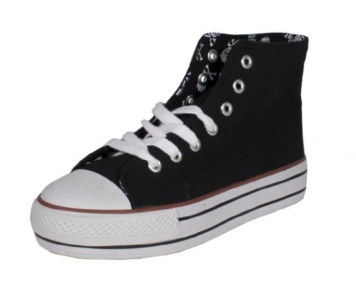 Soda Women's Krono Lace Up High Top Fashion Sneakers with White Rubber Sole, black canvas, 7 M US