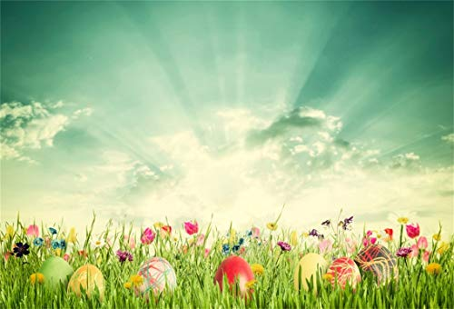 Leyiyi 7x5ft Photography Background Happy Easter Day Backdrop Colored Eggs Spring Holiday Lily Blossom Grassland Sunlight Spring Holiday Greenery Garden Christainity Photo Portrait Vinyl Studio Prop