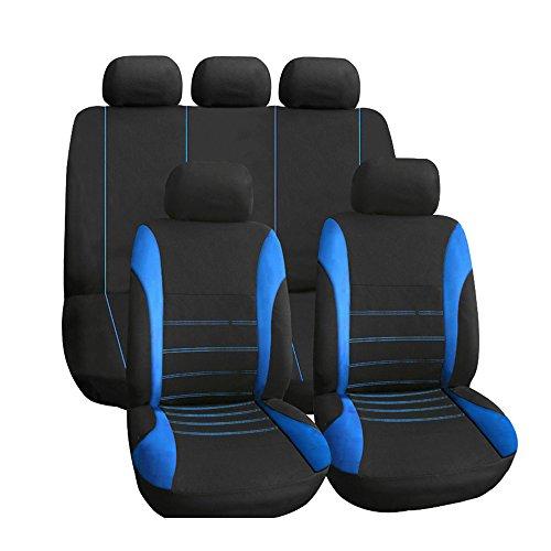 KKmoon Universele autostoelhoezen, 9-delig, inklapbaar, stoelkussen Blauw