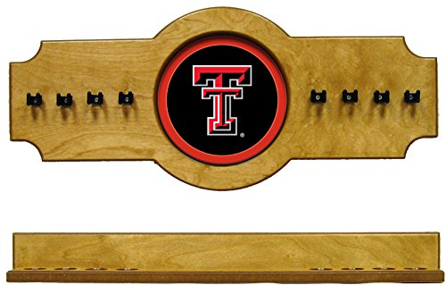 (NCAA Texas Tech Red Raiders TXTCRR100-O 2 pc Hanging Wall Pool Cue Stick Holder Rack - Oak)
