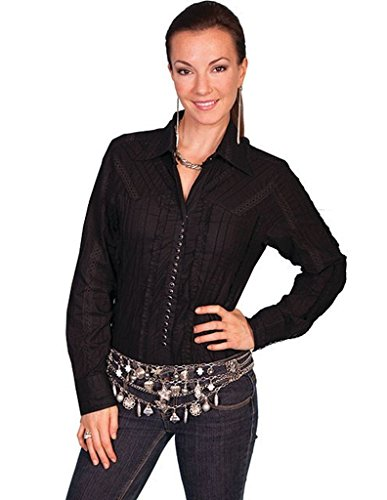 Scully Lace Blouse - Scully Women's Tone-On-Tone Lace Top Black Medium