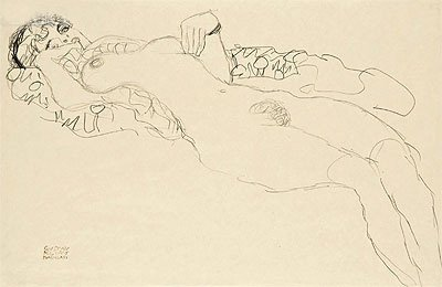 Klimt (Reclining Female Nude, c.1914/15) Print on Fine Art Paper Reproduction (10.5x16.1 in) (27x41 cm)