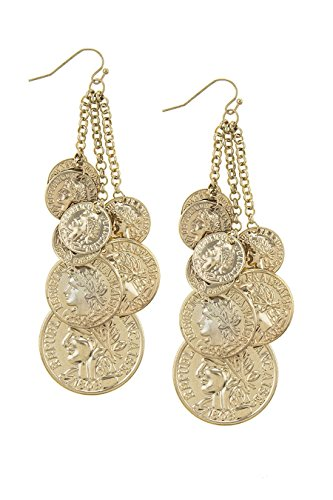 Penny Coin Costume (THE JEWEL RACK ANTIQUE COIN FRINGE DROP EARRINGS (Gold))