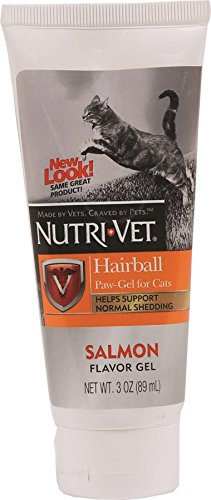 Nutri-Vet Hairball Paw-Gel for Cats, Salmon Flavor, 3-Ounce