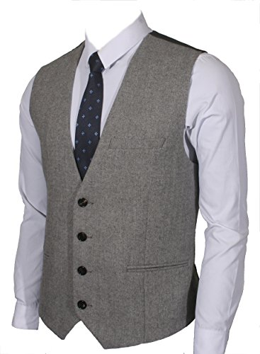 - Ruth&Boaz 3Pockets 4Buttons Wool Herringbone / Tweed Business Suit Vest (L, Herringbone Grey)