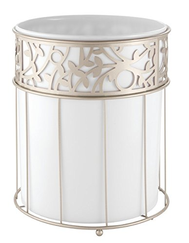 mDesign Decorative Round Small Trash Can Wastebasket, Garbage Container Bin for Bathrooms, Powder Rooms, Kitchens, Home Offices - White Plastic, Steel Wire frame in Satin Finish by mDesign