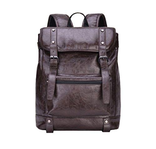Laidaye Backpack Travel Waterproof Men Computer College Bag Wind Pu Brown Shoulder Business Bags pqpUwXr