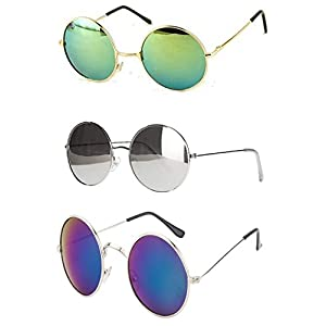 Younky Uv Protected Combo Of 3 Round Men's, Women's, Boy's, Girl's Sunglasses – (Ynk-Rgrn-Rslvr-Rblu 55 Silver)