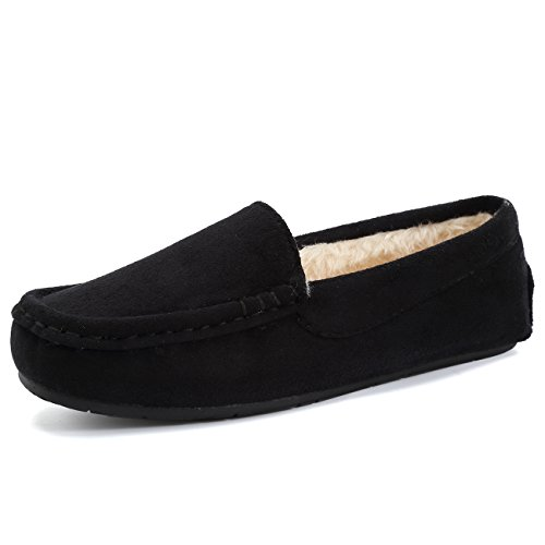 Fanture Women's Slipper Micro Suede Faux Fur Lined Indoor & Outdoor Moccasins Slip On-U418WMT005-black02-40