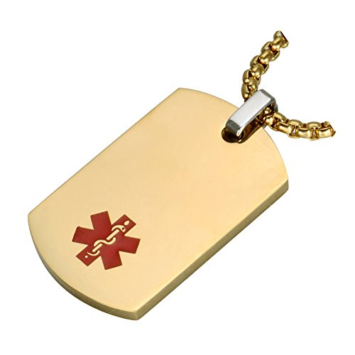 Medical Alert Jewelry Custom Engraved Medic ID Necklace for Men Women,Chain 20-24 Inches,Gold Plated
