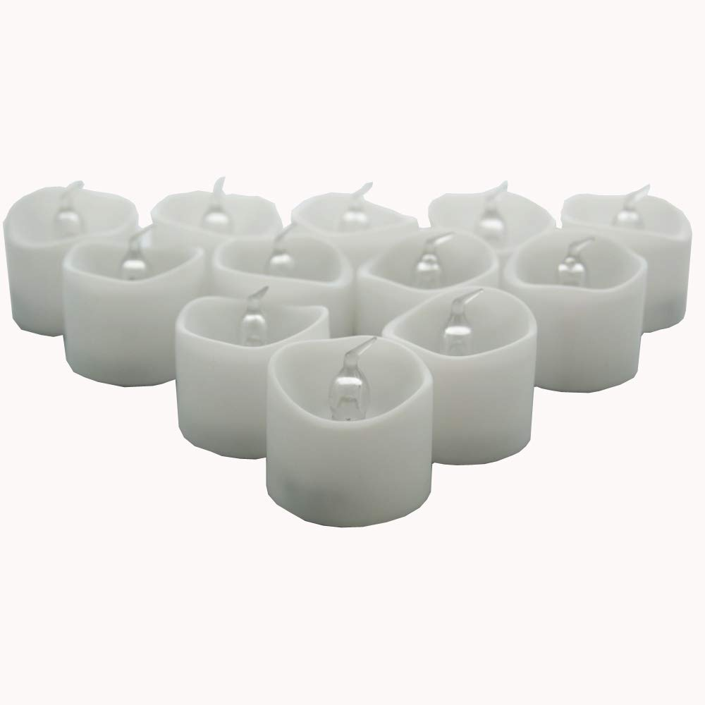 12-pcs Flameless LED Battery Powered Melted Edge Tealight Candles, LED Tea Lights Red Light