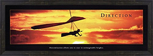 Direction - Hang Glider Framed Art Print Wall Picture, Espresso Brown Frame, 38 x 14 inches