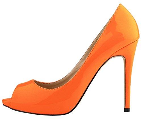 HooH Women's Pumps Platform High Heel Dress Pumps Wedding Shoes Slip On Orange-2 SYvo5FTqN