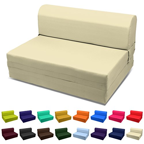 Magshion Futon Furniture Sleeper Chair Folding Foam Bed Choose Color & Sized Single,Twin or Full (Full (5x46x74), Khaki)