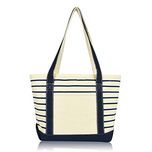 DALIX Small Stripe Tote Deluxe Shoulder Bag Cotton Canvas in Navy Blue