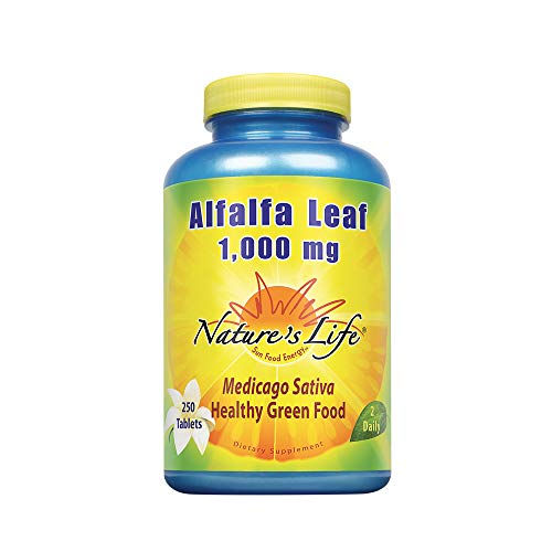 Nature's Life Alfalfa Leaf Tablets 1000mg | Vitamin Rich Green Superfood | Non-GMO (250 CT)