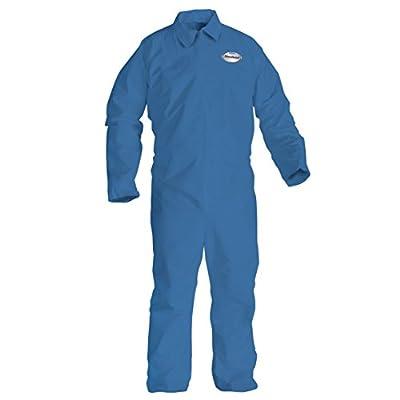 Kleenguard Chemical Resistant Suit, A60 Bloodborne Pathogen & Chemical Splash Protection Coveralls (45234), Zip Front, XL, Blue, 24 Garments / Case