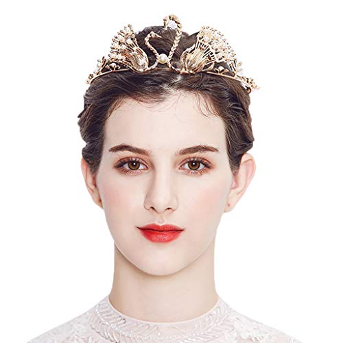 (Shisay Luxurious Bridal Swan Crystal Halo Crown Headband Wedding Hair Accessories (Gold))
