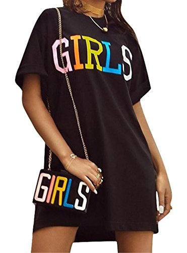 Antique Style Women's Summer Street Fashion Girls Letters Printing Loose Tees Tunic Top Basic T-Shirts Blouse Club Dress Black XL