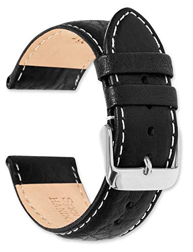 deBeer Brand Sport Leather Watch Band (Silver & Gold Buckle) - Black 22mm (Short Length)