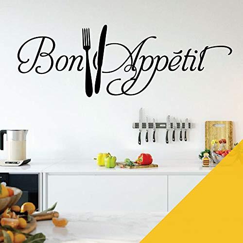 (Bon Appetit - Fork, Knife, Cutlery, Kitchen, Restaurant Wall Quote, Wall Sticker)