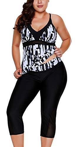 - ENLACHIC Women Plus Size Surf Swimwear Rash Guard Swim Capris Tankini Swimsuit,Black White,XX-Large (fits Like US 18-20)