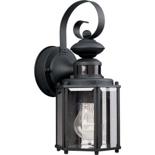 Progress Lighting P5662-31 1-Light Wall Lantern with Motion Sensor, Black (Lantern With Detector Motion)