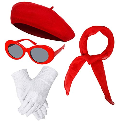 Women Girls French Themed Party Beret Hat Chiffon Scarf Gloves Retro Oval Sunglasses Fancy Dress Costume Accessories Set (Red)]()
