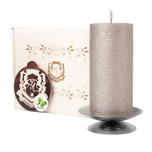 Passo Avanti Premium Candle Set 100% Natural Palm Wax,Decorative Pillar, 4 inch. Height, 50-60 Hours of Burning Best Gift for Her/Him Unscented Silver Silk Candle and Silver Candlestick + The Gift