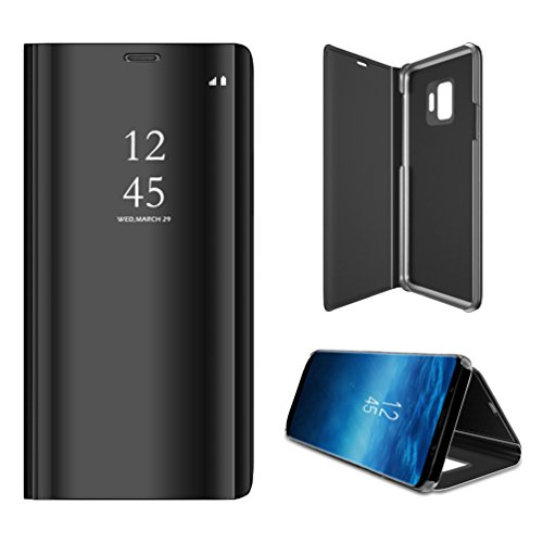 (Anyos Galaxy S9 Case, Clear View Standing Mirror Flip PC Cover for Samsung Galaxy S9,Black )