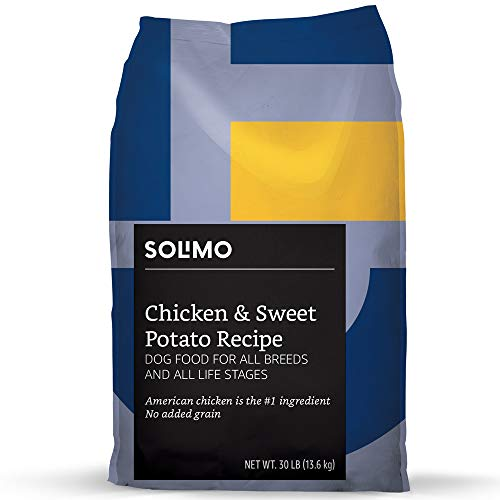 Amazon Brand – Solimo Ultra-Premium Dry Dog Food, No Added Grain, Chicken & Sweet Potato Recipe 30 lb. Bag