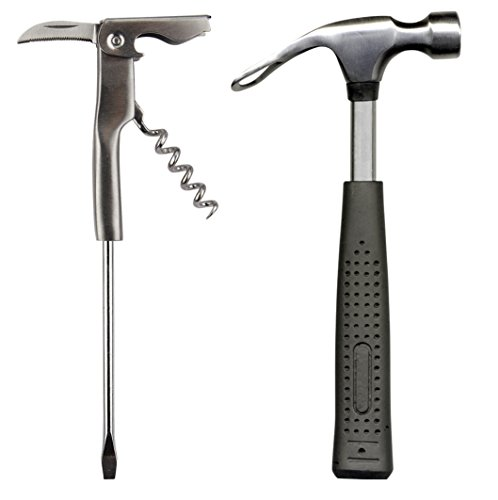 Barbuzzo Bar Tools, Mini - Clever Set Includes a Beer Hammer Bottle Opener and a Corkscrew Screwdriver - The Ultimate Gift for Your Favorite Handyman for All Kinds of Entertaining and Parties (Beer Hammer)