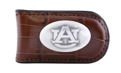 NCAA Auburn Tigers Tan Crocodile Leather Magnet Concho Money Clip, One Size