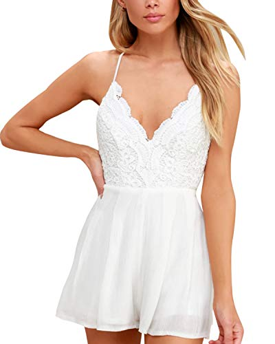 SUNNYME Women's Rompers Summer V Neck Sleeveless Strap Casual Backless Short Jumpsuits B-White XL