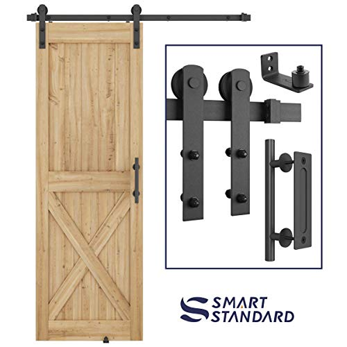5FT Heavy Duty Sliding Barn Door Hardware Kit – Super Smoothly and Quietly – Simple and Easy to Install – Includes Step-by-Step Installation Instruction – Fit 30″ Wide Door Panel (I Shape Hangers)