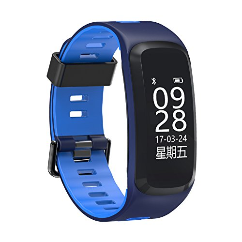 Price comparison product image Heart Rate Blood Pressure Smart Tracker, MeiLiio Activity Bracelet, Multi Sport Modes Pedometer Bluetooth Smart Wrist with Remote Camera, Waterproof Touch Screen Watch for Women, Men, Kids, Blue